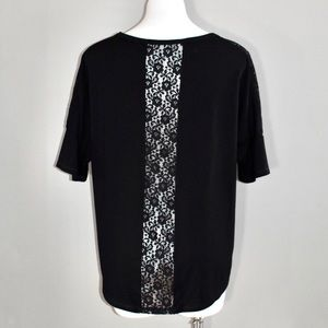 Massini black lace panel blouse size med